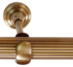 Drážkovaná kovová tyč pro garnýže průměr 25mm v barvě antická mosaz