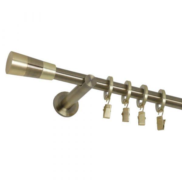 Kovové garnýže s koncovkou Fénix a tichými zlatými kroužky
