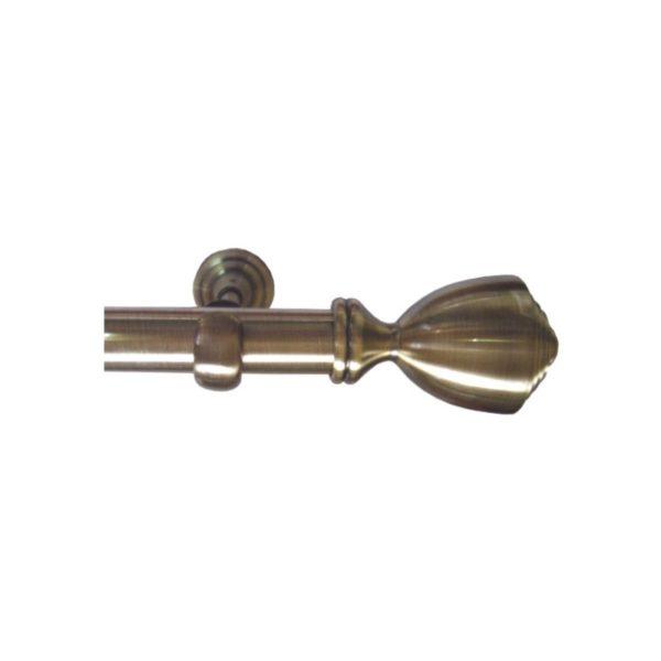 Kovové garnýže Italie průměr 25mm v barvě antická mosaz s koncovkou Rossa