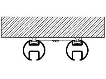 Kolejnice AL410 montáž na strop dvojité provedení