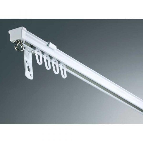 Záclonová kovová kolejnice AL320 pro montáž na strop nebo na stěnu v barvě bílá.