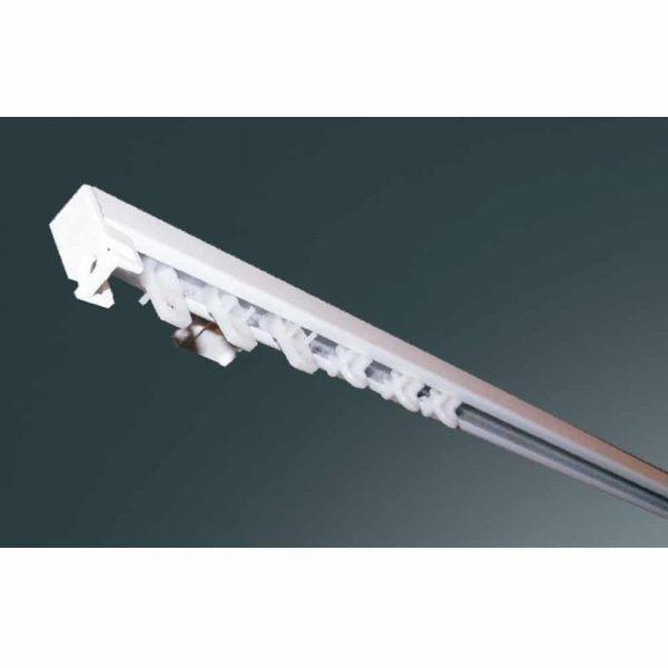 Kovová záclonová kolejnička ALS19 v barvě bílá pro montáž na strop nebo na stěnu.