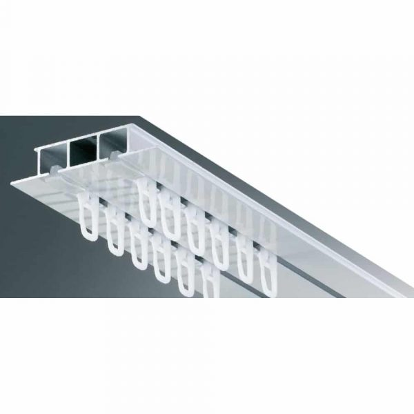 Kovová záclonová kolejnice AL325 v barvě bílé vhodná pro montáž do kazetových nebo sádrokartonových stropů.