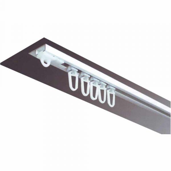 Záclonová jednokolejnice AL090 pro montáž na strop v barvě bílé.