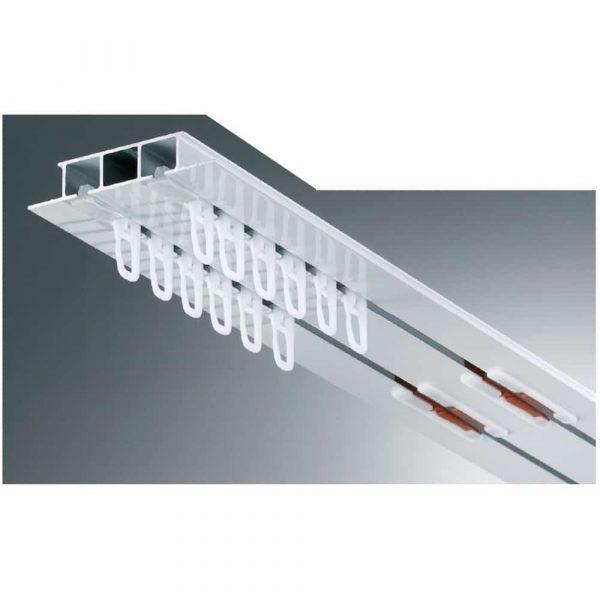 Kovová záclonová kolejnice AL325 v barvě bílé vhodná pro montáž do kazetových nebo sádrokartonových stropů se zámkem Marathon