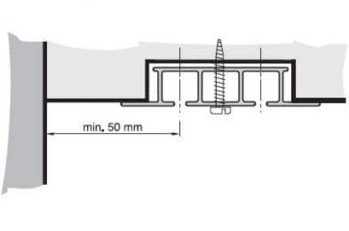 Záclonová kolejnice AL325 montáž šroubováním