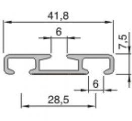 Záclonové dvoukolejnice AL351 průřez