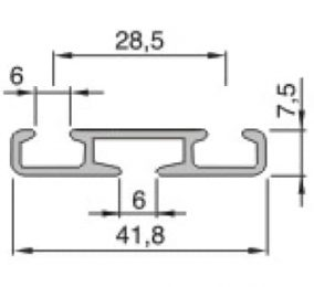 Záclonové jednokolejnice AL351 průřez