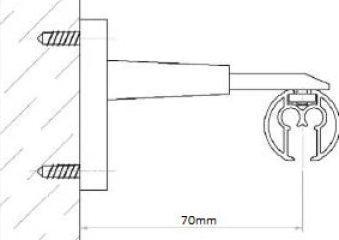 Stěnový držák záclonové kolejnice AL845