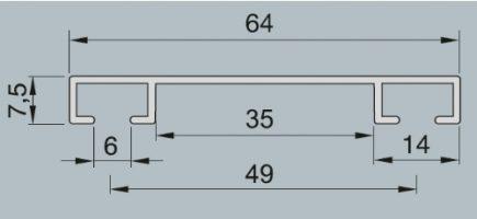 Záclonová kolejnice AL093B průřez