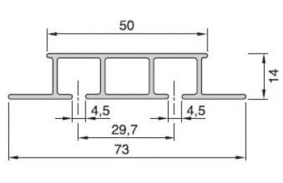 Záclonová kolejnice AL325 průřez