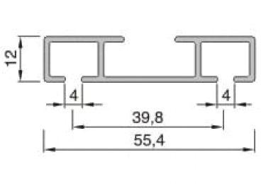 Záclonové kolejnice AL363 průřez